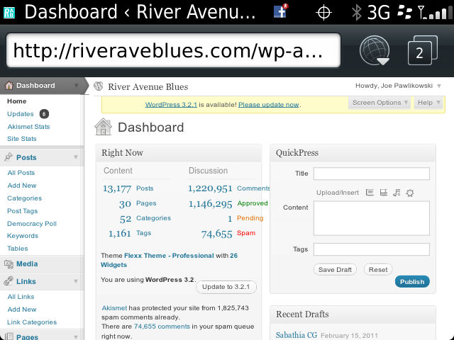 WordPress Dashboard Via BlackBerry Web Browser