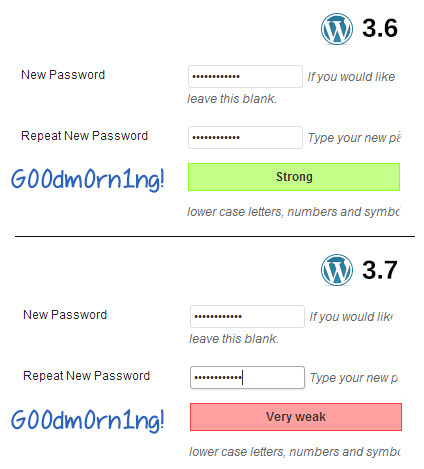 "Password ""G00dm0rn1ng!"" strength meter comparison"