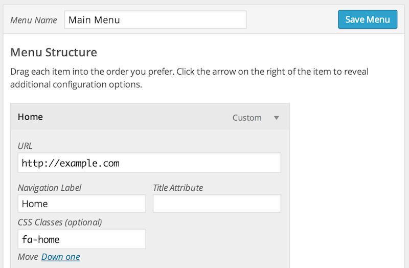 CSS Classes for menu item