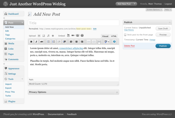 WordPress 2.7 Crazyhorse