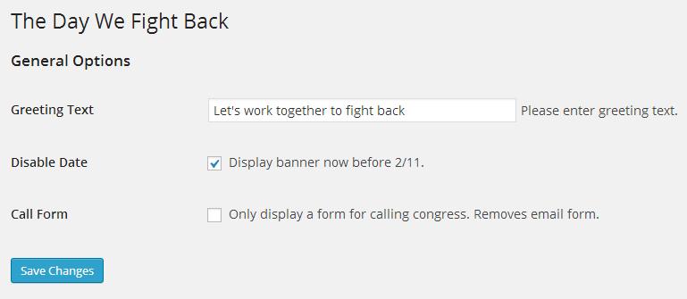 Admin Setting Plugin WordPress the Day We Fight Back