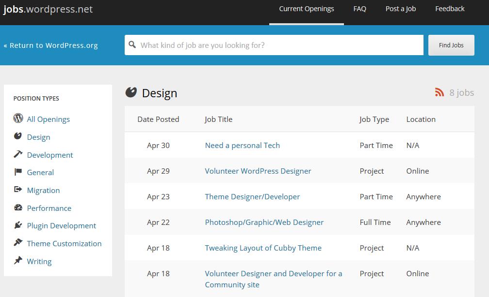 Official WordPress Jobs Board
