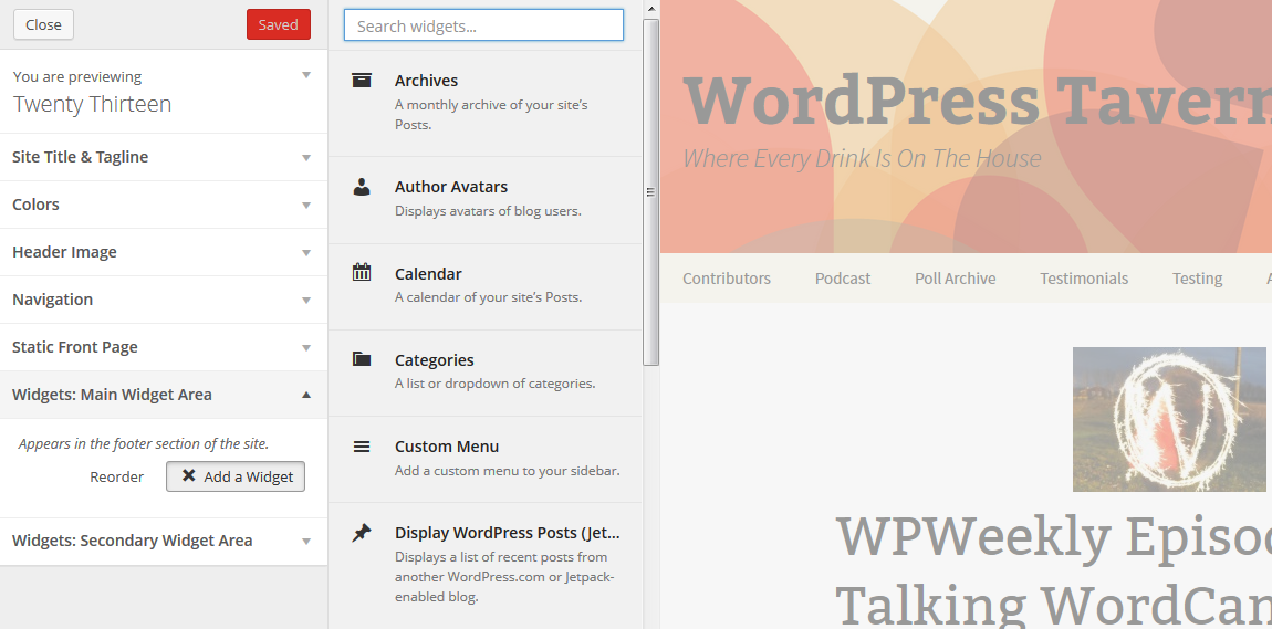 WordPress 3.9 Live Widget Previews