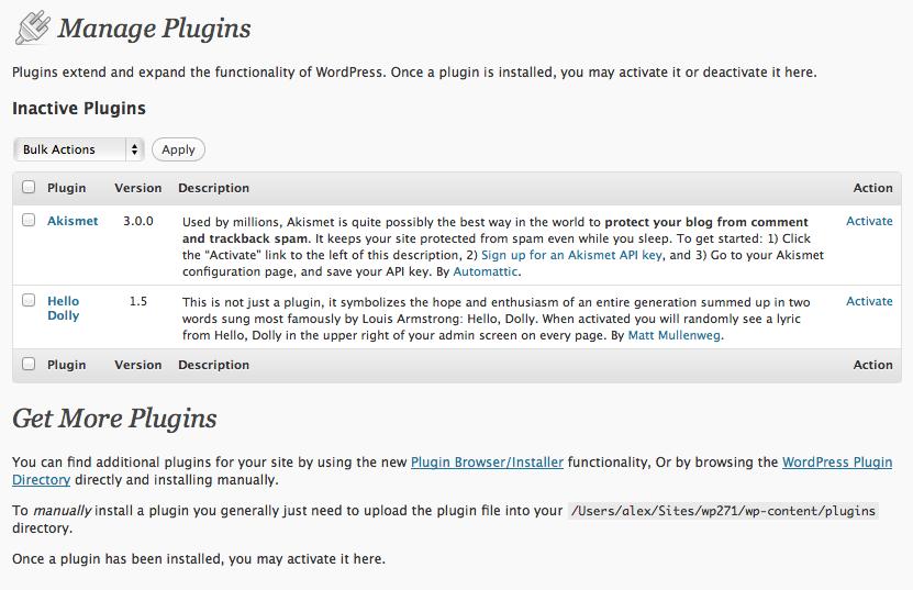 WordPress 2.7 Plugins Page