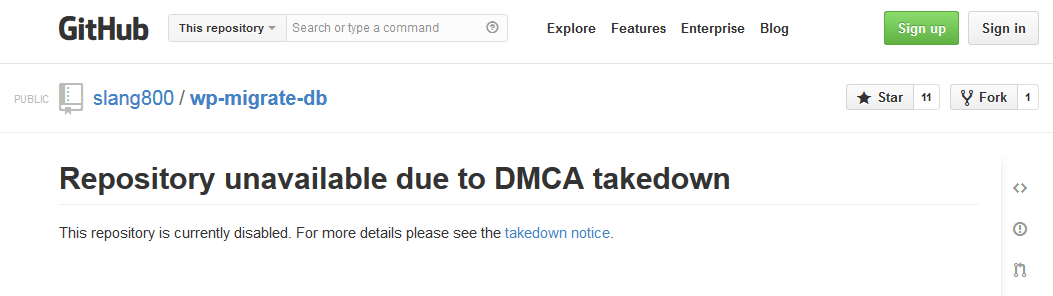 DMCA Takedown Notice Against A Fork Of WP Migrate DB Pro