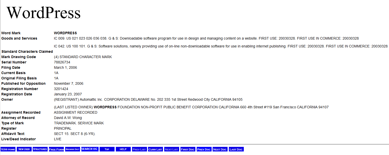 WordPress Trademark Filing On USPTO