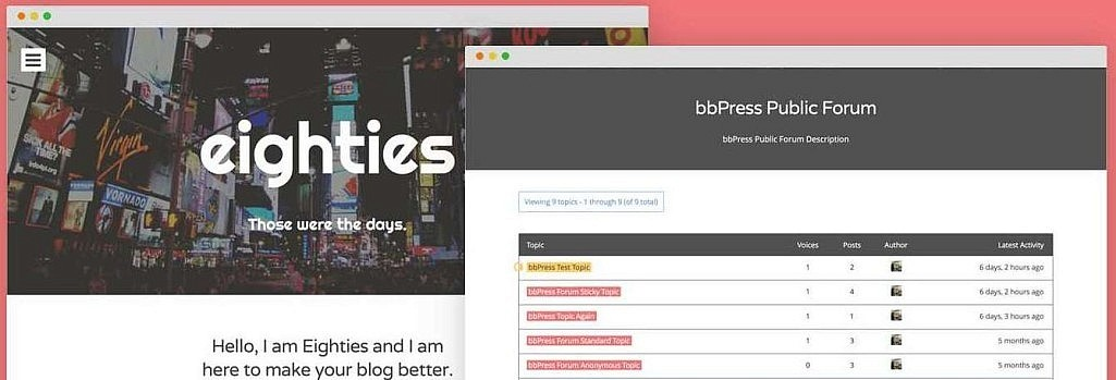 Free bbPress Add-on Now Available For Eighties WordPress Theme