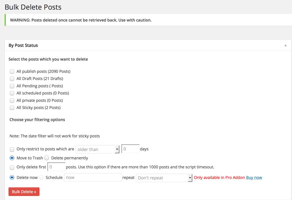 Bulk Delete Settings Page