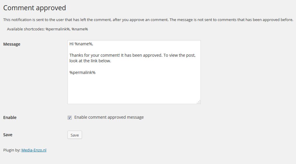 Click The Checkbox To Enable The Comment Approved Message
