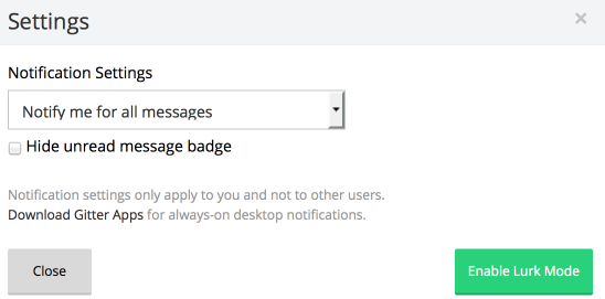 Gitter Notification Settings