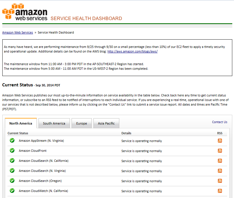 Amazon Web Services Status Page