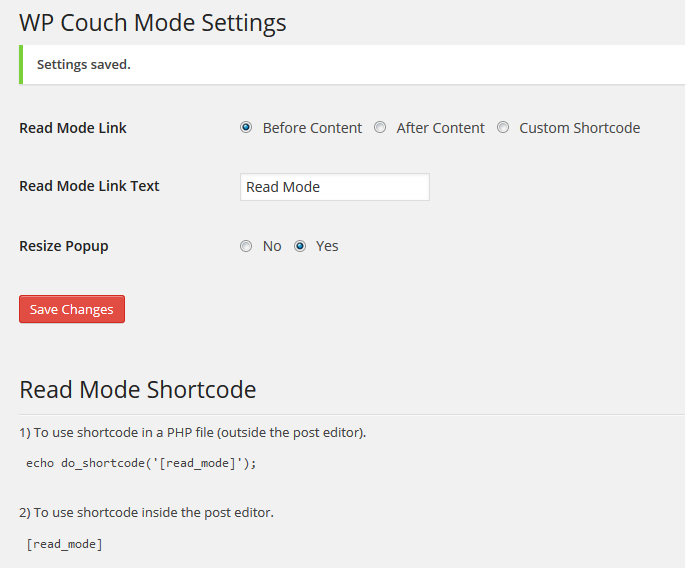 Configuration Settings For WP Couch Mode