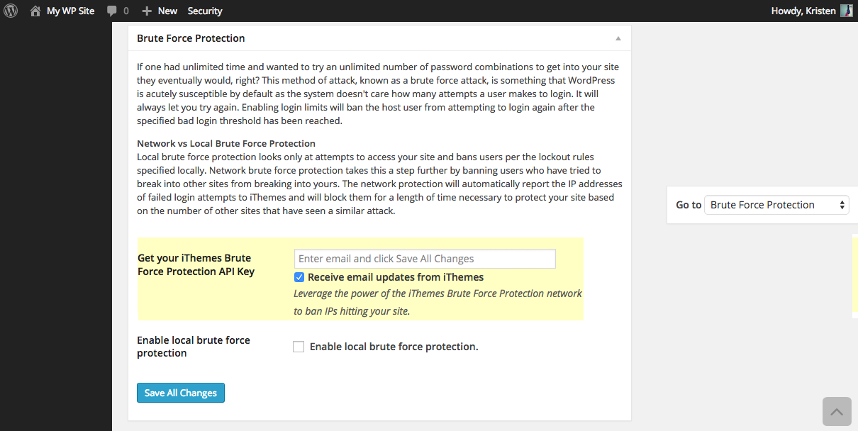 Brute Force Login Protection Settings