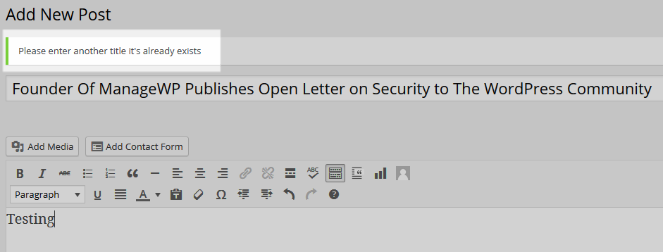 Duplicate Title Detected
