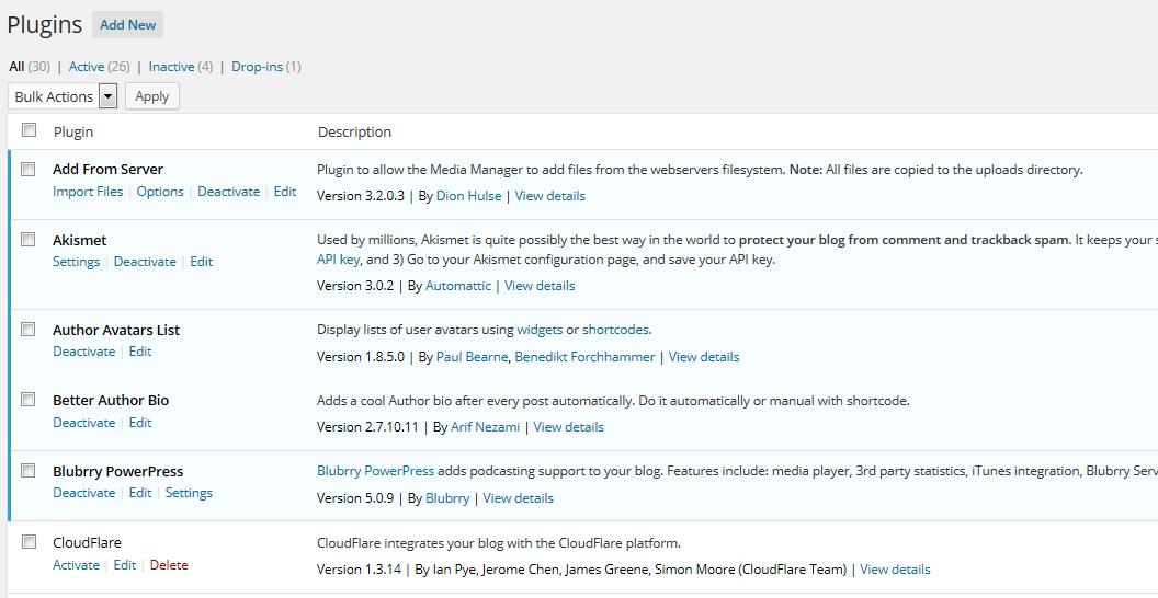 WordPress 4.0 Plugin Management Page