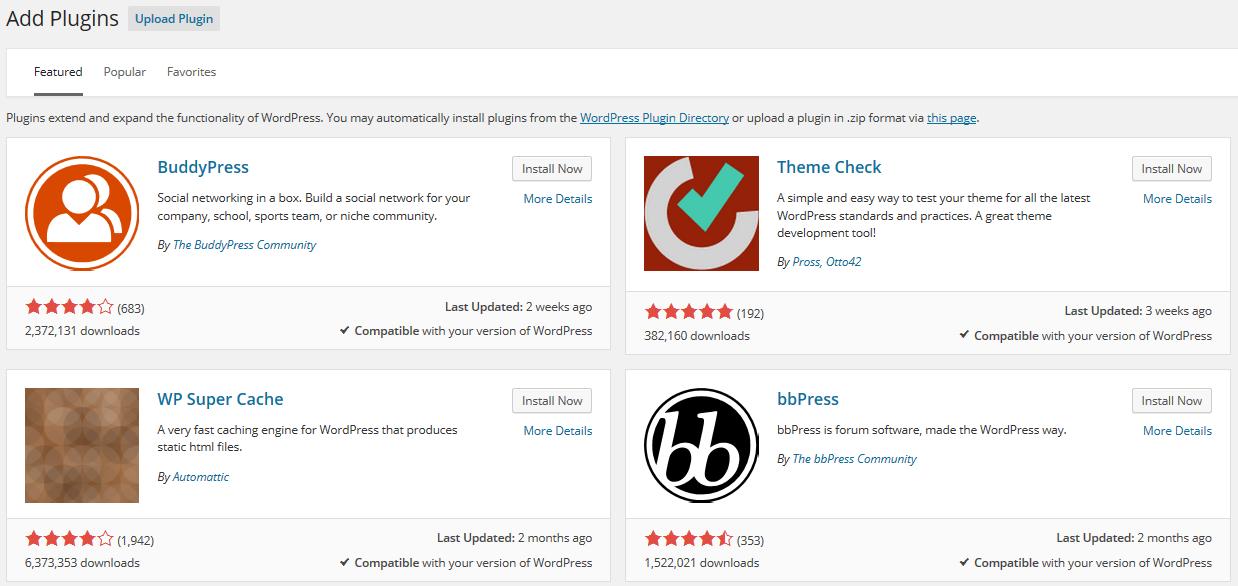 WordPress 4.0 Plugin Cards