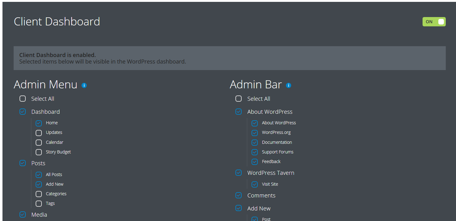 Configuring a Client Dashboard