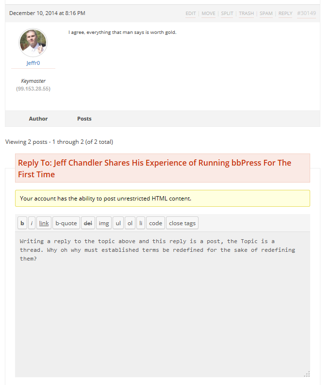 Replying to a Topic on The Frontend of bbPress