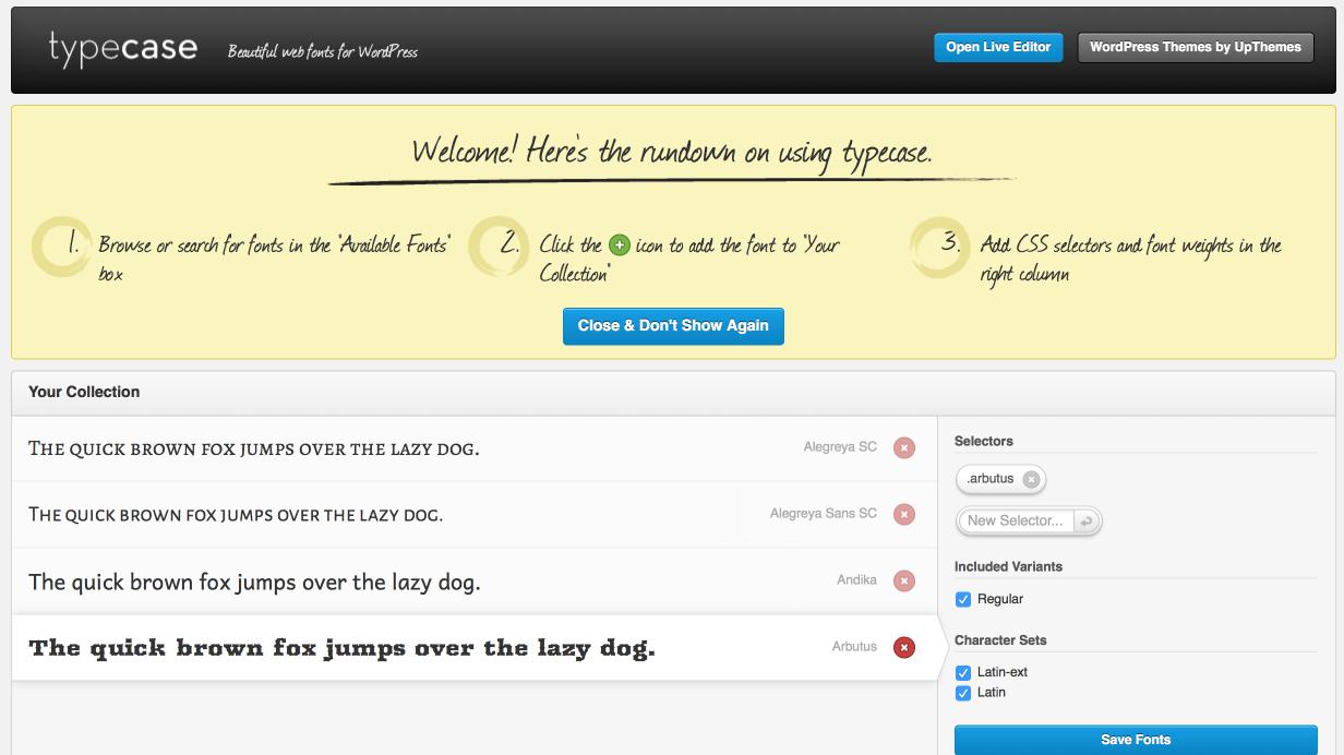 Typecast Configuration Page