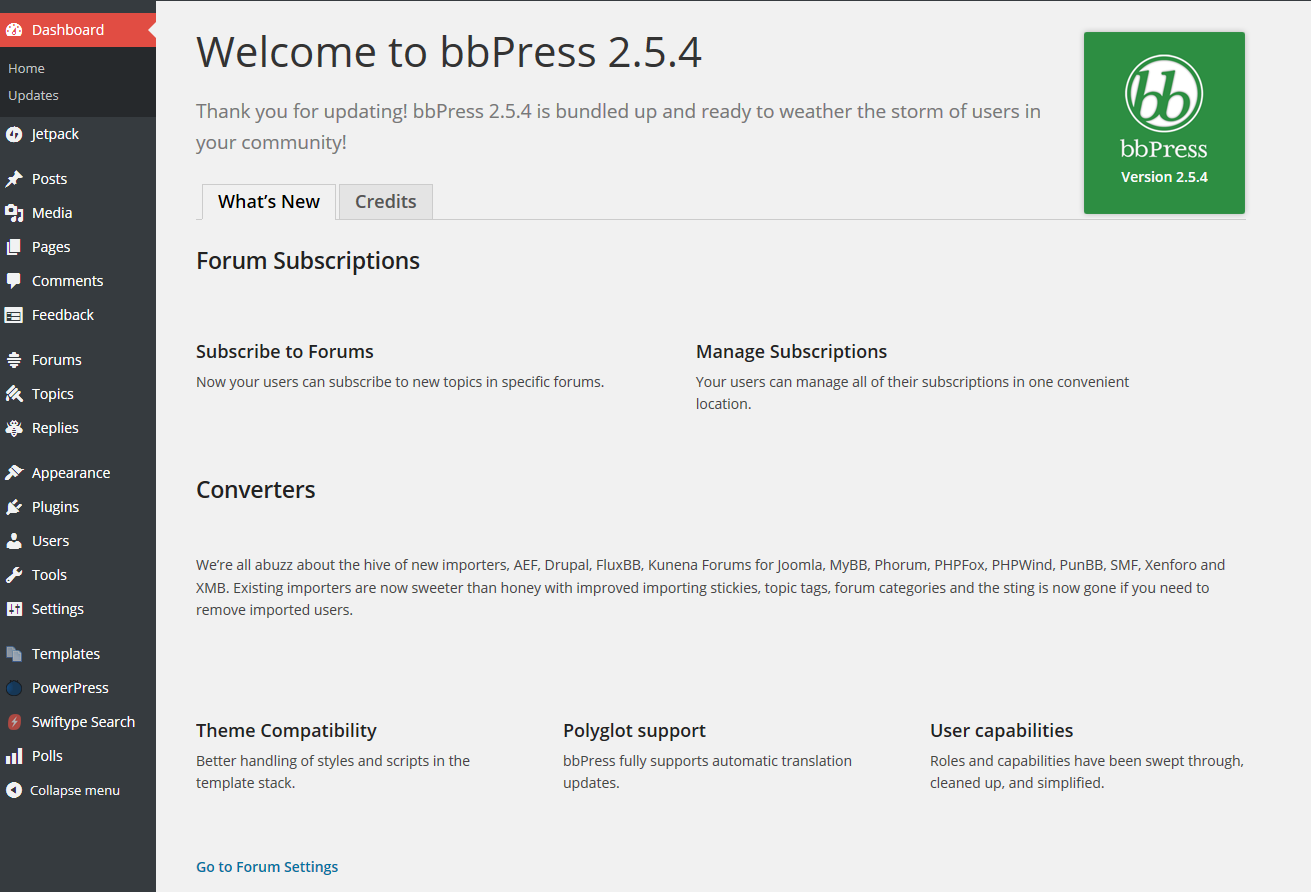 bbPress Welcome Screen After Activation