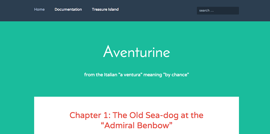 Aventurine: A Free WordPress Theme Featuring Bold Typography and Bright Colors