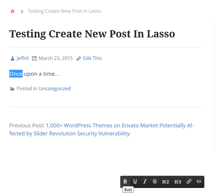 A New Post Created by Lasso