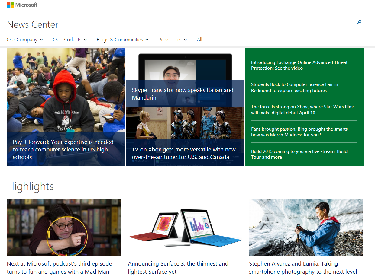 The new Microsoft News Center