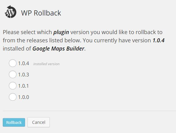 wp-rollback-versions-screen