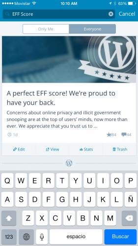 Search bar in WordPress for iOS 5.3