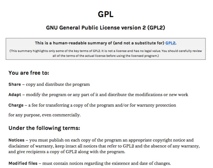Sample of the human readable summary of the GPL