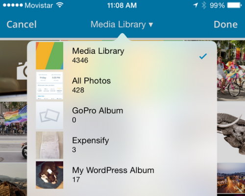 WP For iOS 5.4 Media Library Selection