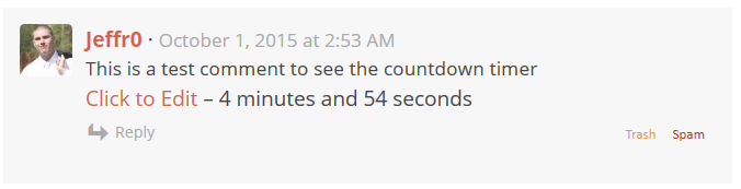 Simple Comment Editing Countdown Timer