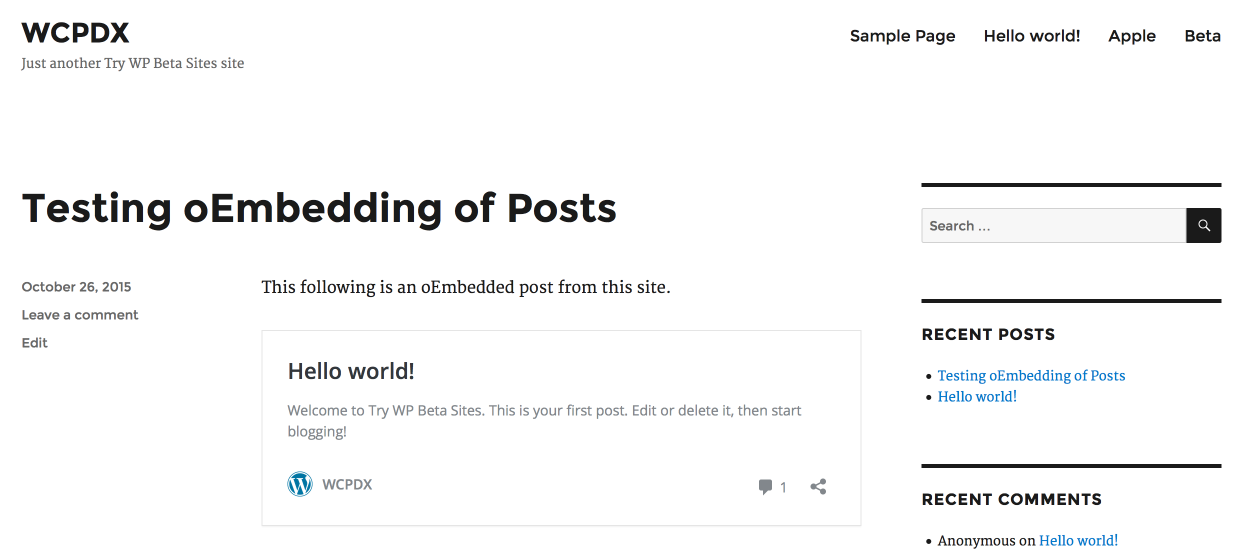 Testing oEmbeds of Posts