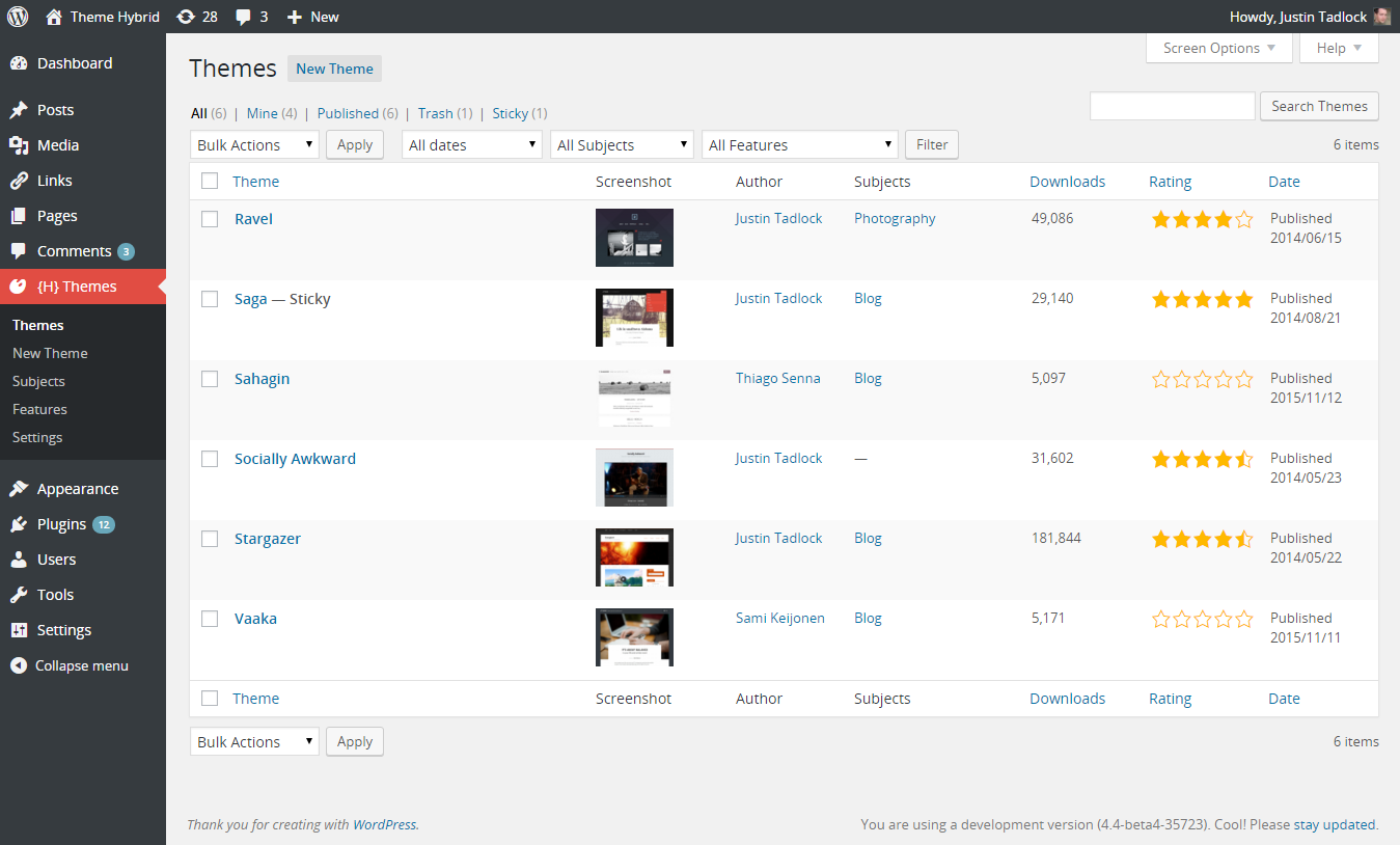 Manage Themes in the WordPress Backend