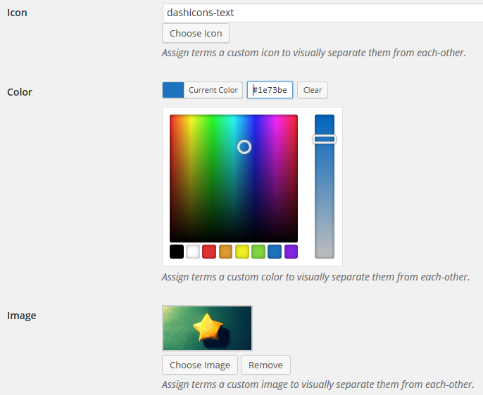 Assigning a color to Taxonomies