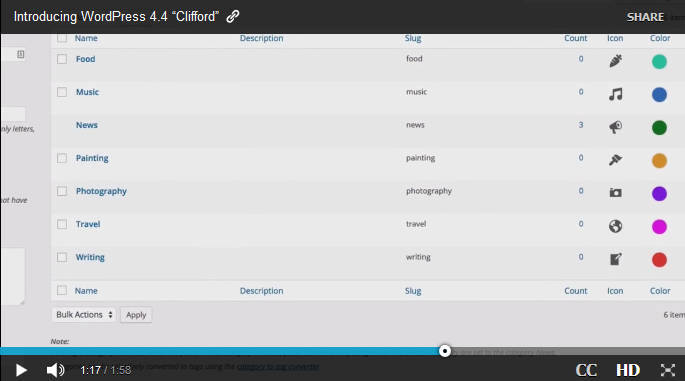 WordPress 4.4 Release Video Showing Colors and Icons