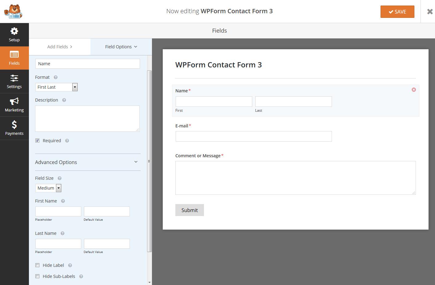 WPForm Field Options