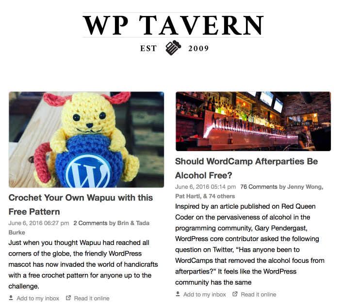 WP Tavern Digest Email