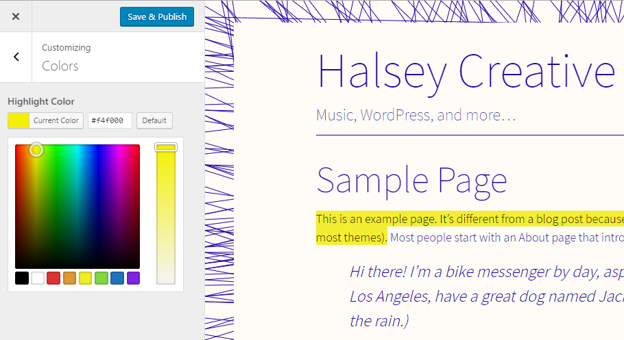 Set a Highlight Color for WordPress Content with Live Preview in the Customizer