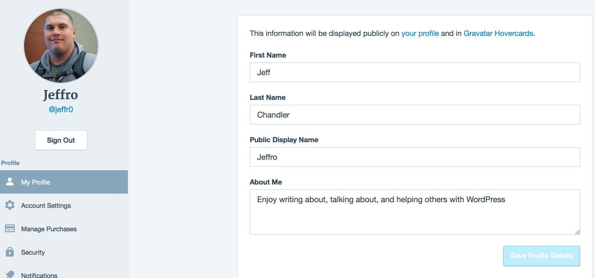 WordPress.com Update Gravatar Profile Image Interface