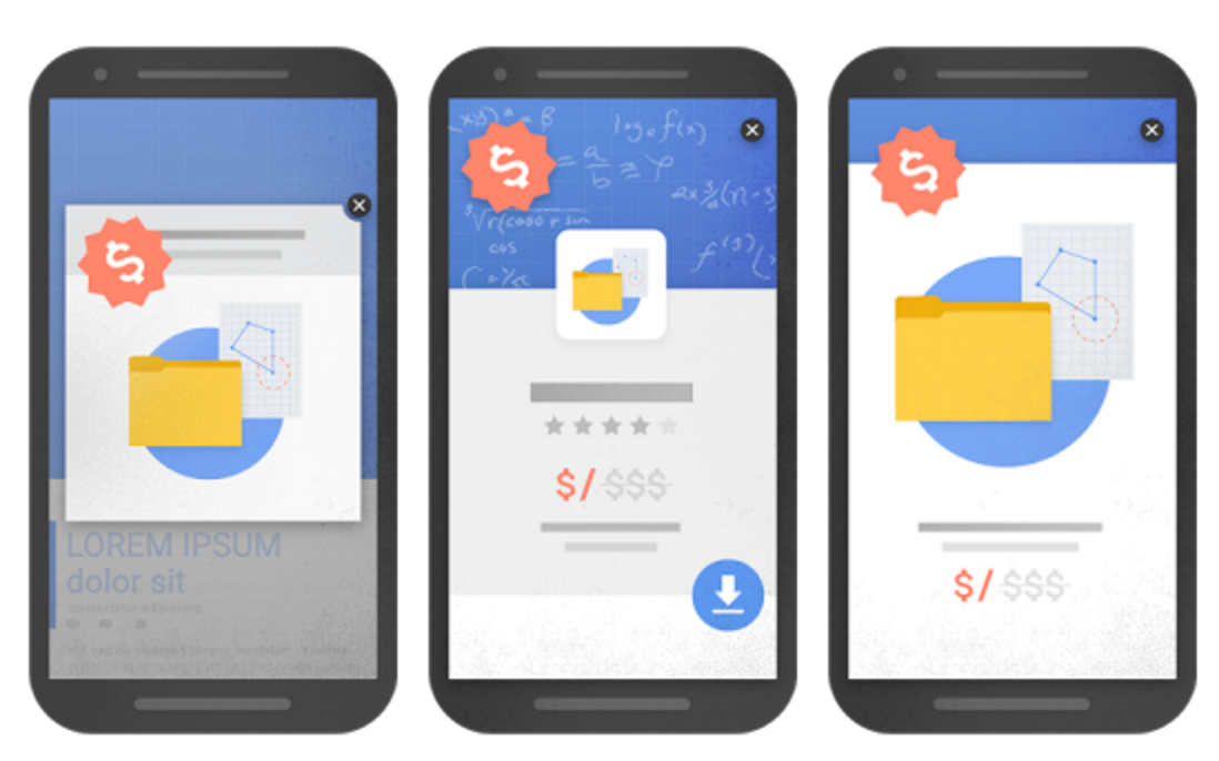 Google's examples of intrusive interstitials
