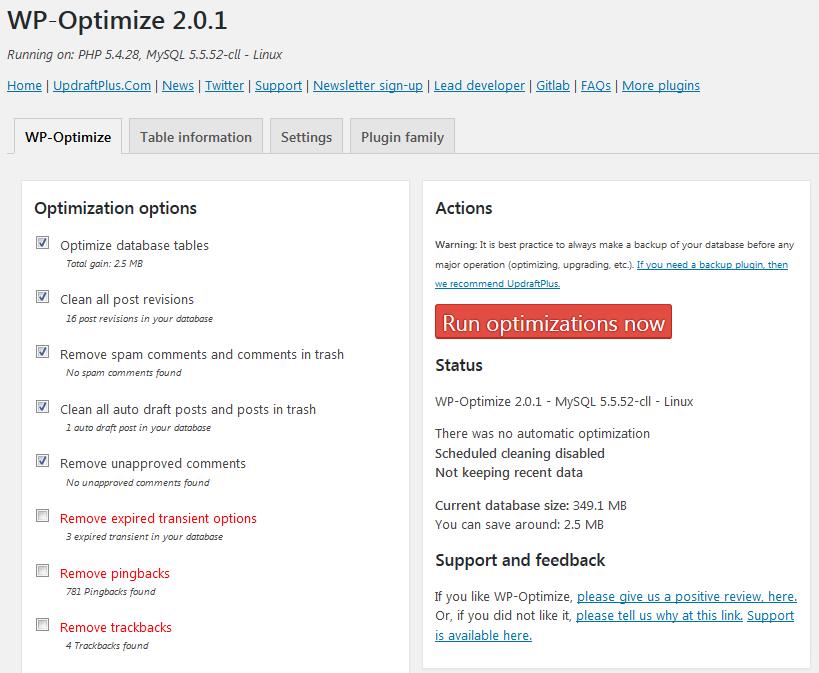WP Optimize Settings Page