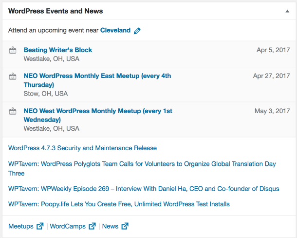 Nearby WordPress Events Dashboard Widget