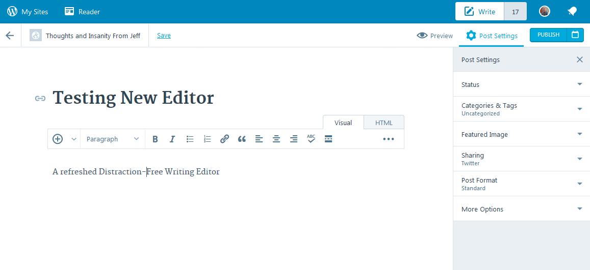 New WordPress.com Post Editor