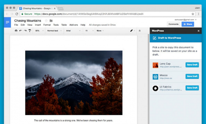 WordPress.com Releases Chrome Add-On for Google Docs