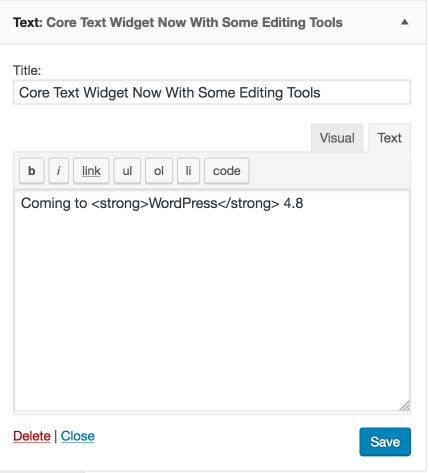 Text Widget HTML Mode