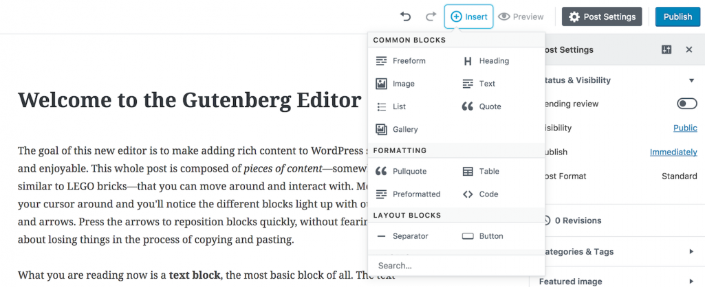 Gutenberg 0.3.0 Adds Front-End Styles for Core Blocks, Notices Framework, and Text and Image Quick Inserts