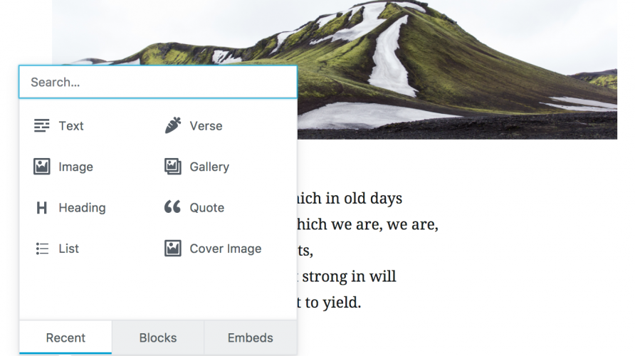 Gutenberg 0.5.0 Adds New Verse Block for Poetry and a New Display for Recent Blocks