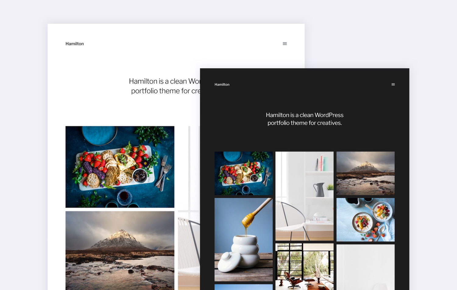 hamilton a free wordpress portfolio theme for photographers illustrators and designers. Black Bedroom Furniture Sets. Home Design Ideas
