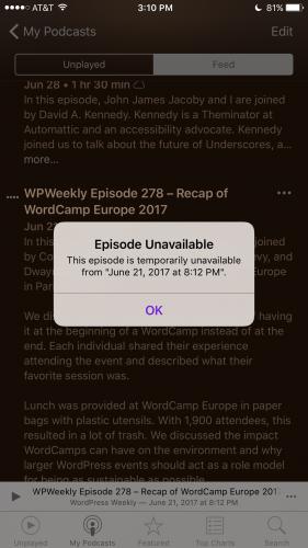 Podcast Download Error